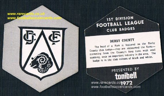 1972 Derby County Tonibell 1st Div club badges